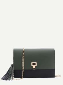 Dark Green Flap Crossbaody Bag With Tassel