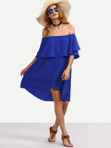 Royal Blue High Low Ruffle Bardot Dress