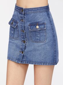 Blue Flap Pocket Front Button Up Denim Skirt