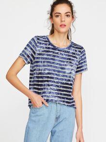 Navy Tie Dye Print Striped Short Sleeve T-shirt