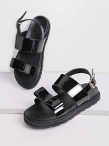 Black Bow Embellished Patent Leather Sandals