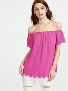 Hot Pink Scalloped Off The Shoulder Top