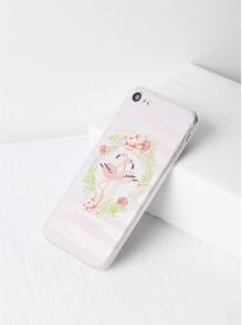 Flower And Bird Print Clear iPhone 7 Case