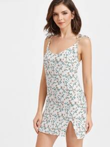 Ditsy Print Slit Side Slip Dress