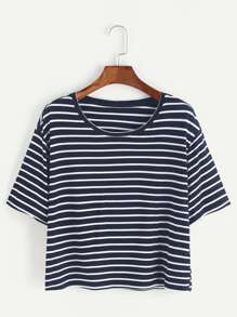Navy And White Striped Crop T-shirt