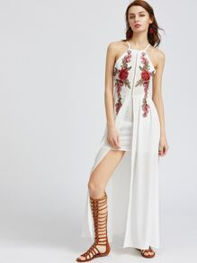 White Criss Cross Backless Appliques Layered Split Dress