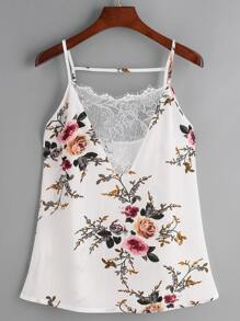 White Floral Print Lace V Neck Cami Top