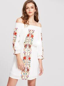 White Smocked Off The Shoulder Embroidered Blouson Dress