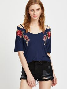 Navy Rose Patch Strappy V Neck T-shirt
