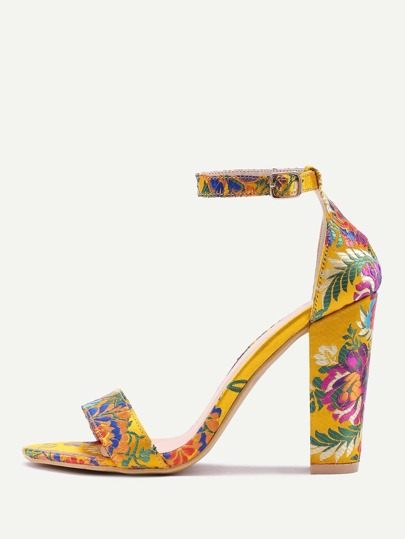 Yellow Two Part Jacquard Chunky Heeled Sandals