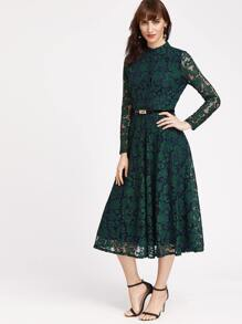 Dark Green Floral Lace Overlay Dress With Belt