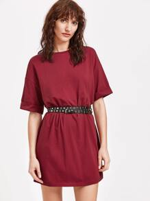 Burgundy Drop Shoulder Roll Cuff Tee Dress