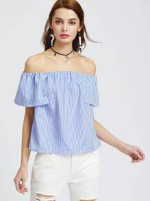 Blue Striped Off The Shoulder Cape Sleeve Top