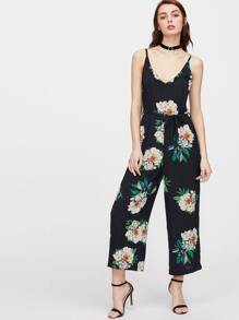 Navy Floral Print Self Tie Wide Leg Jumpsuit