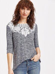 Navy Marled Knit Crochet Applique 3/4 Sleeve T-shirt