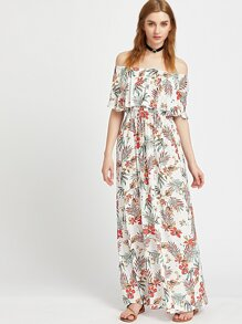 White Tropical Print Ruffle Off The Shoulder Dress