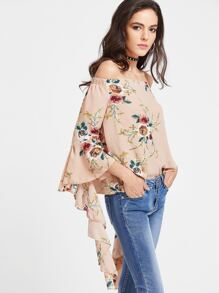 Apricot Floral Print Off The Shoulder Flared Sleeve Top
