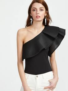 Black One Shoulder Ruffle Trim Bodysuit