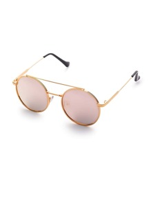 Pink Flat Lens Double Bridge Round Sunglasses