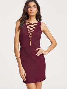 Burgundy Crisscross Plunge Neck Open Back Textured Dress