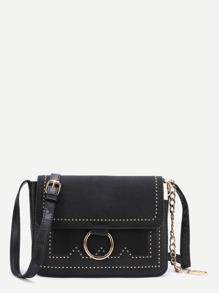 Black Ring Detail Flap Shoulder Bag