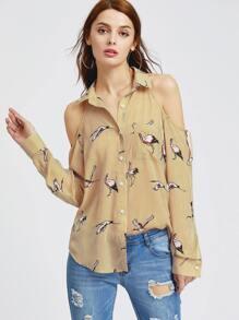 Yellow Striped Crane Print Cold Shoulder Shirt
