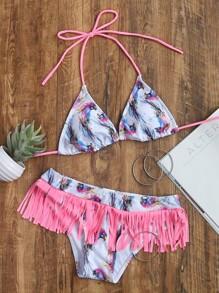 Printed Contrast Fringe Triangle Bikini Set