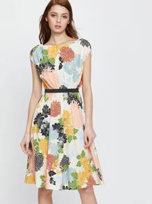 Multicolor Flower Print A Line Dress With Self Tie