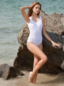 White Square Neck One-Piece Swimwear