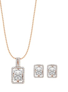 Gold Rhinestone Pendant Necklace With Earrings