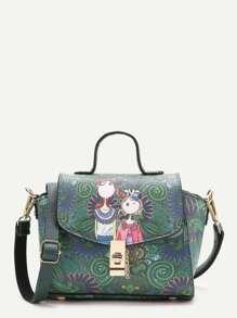Green Print PU Shoulder Bag With Handle