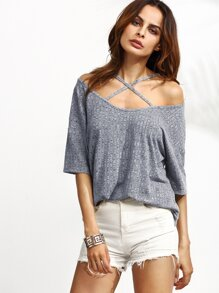 Crisscross Cold Shoulder Marled Knit Ribbed T-shirt