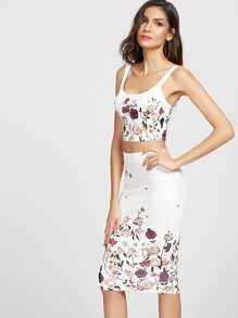 White Flower Print Crop Tank Top With Pencil Skirt