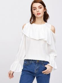 White Cold Shoulder Bell Cuff Ruffle Top