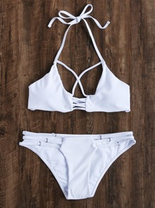 White Ladder Cutout Ring Detail Halter Bikini Set