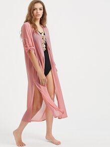 Pink Tassel Tie Front Roll Sleeve Slit Kimono