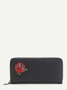 Black Flower Embroidery Textured Wallet