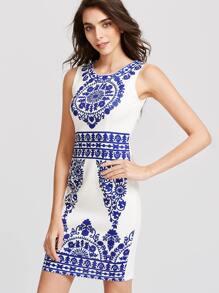Blue And White Print Slit Back Sheath Dress