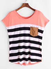 Pink Striped Pocket Front Cap Sleeve T-shirt