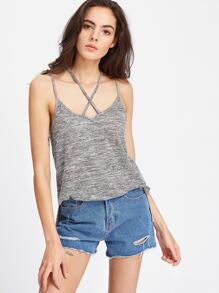 Grey Marled Crisscross Double Strap Cami Top