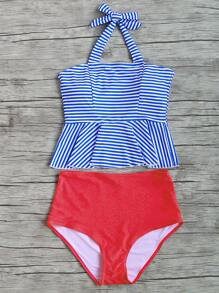 Striped Ruffle Hem Mix & Match High Waist Tankini Set