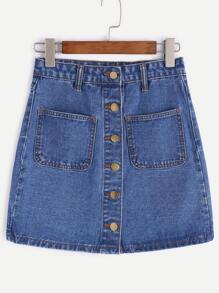 Blue Single Breasted Dual Pockets Denim Skirt