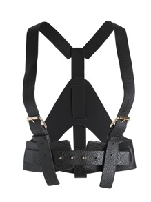 Black Buckle Faux Leather Corset Belt