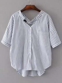 White And Grey Vertical Striped Double V Neck High Low Blouse