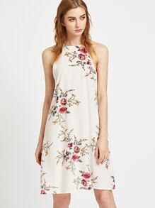 Floral Print Keyhole Back Slip Dress