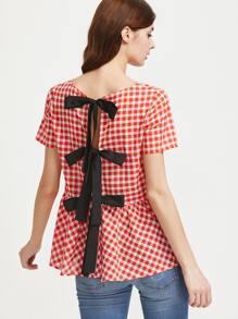 Red White Checkered Split Tie Back Peplum Top