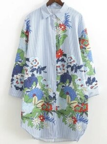 Blue Flower Print Vertical Striped Shirt Dress