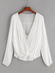 White Contrast Crochet Twisted Drape Front Tassel Tie Blouse