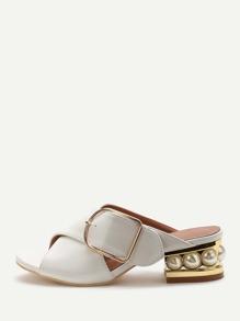 White Buckle PU Chunky Heeled Sandals