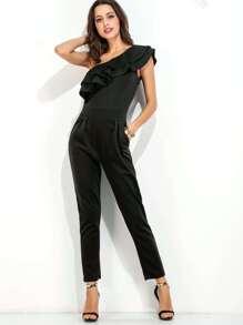 Black Oblique Shoulder Ruffle Tiered Trim Jumpsuit